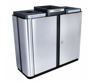Indoor Three Stream Stainless Steel Trash and two Recycling bins